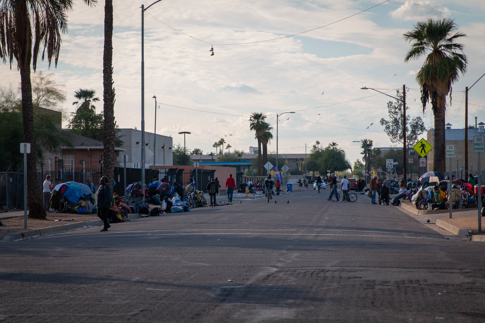Maricopa county Homeless congregate in Phoenix